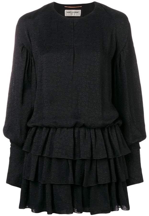 Saint Laurent long-sleeved ruffle dress