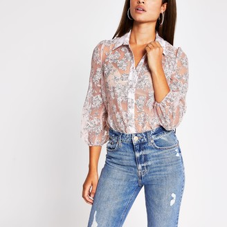 River Island Womens Pink floral organza long sleeve shirt
