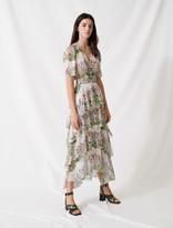 Maje Ruffled printed muslin dress