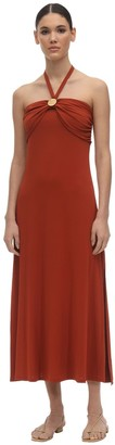 Max Mara Long Embossed Off Shoulder Jersey Dress