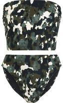 Norma Kamali Bishop Camouflage-print Bandeau Bikini - Army green