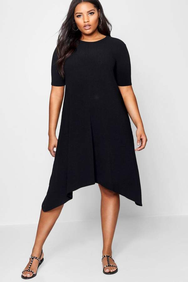 boohoo Plus Ribbed Hanky Hem Dress