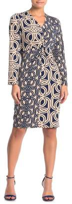 London Times Long Sleeve Front Twist Dress (Petite)