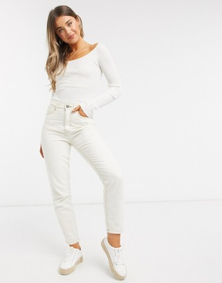 ASOS DESIGN long sleeve scoop neck jumper in cream