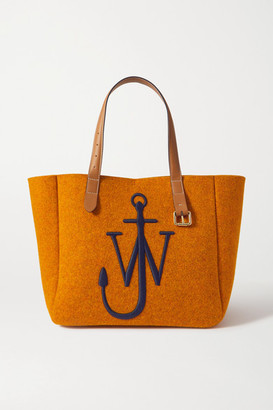 J.W.Anderson Belt Medium Embroidered Leather-trimmed Felt Tote - Orange