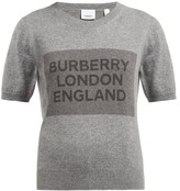 Burberry Logo-knit Round-neck Cashmere T-shirt - Womens - Grey