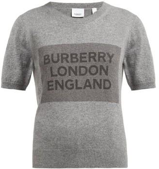 Burberry Logo Knit Round Neck Cashmere T Shirt - Womens - Grey