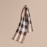 Burberry Lightweight Exploded Check Linen Scarf