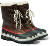 Sorel 1964 Caribou Faux Shearling-trimmed Waterproof Leather And Rubber Snow Boots - Dark brown