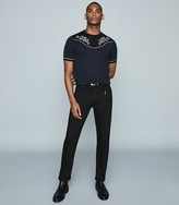 Reiss Missouri - Linen Blend Embroidered T-shirt in Navy/black