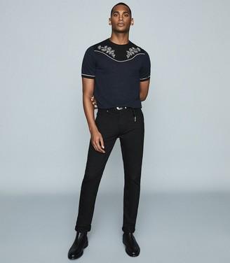 Reiss Missouri - Linen Blend Embroidered T-shirt in Navy/black