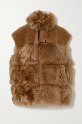 Chloé Leather-trimmed Shearling Vest - Brown