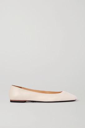 Cesare Paciotti Square-toe Leather Ballet Flats - Off-white