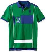 U.S. Polo Assn. Men's Short Sleeve Color Blocked Slim Fit Pique Polo Shirt