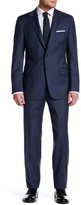 Hickey Freeman Blue Sharkskin Two Button Notch Lapel Wool Classic Fit Suit