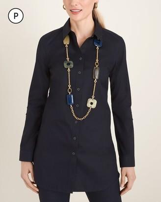 No Iron Petite Cotton Roll-Tab Sleeve Tunic