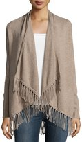 Neiman Marcus Cashmere Open-Front Cardigan, Tan