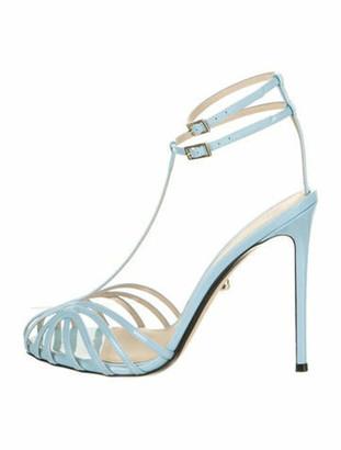Alevi Stella 110 Kim Patent Patent Leather T-Strap Sandals Blue