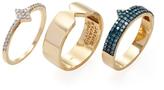 Janis Savitt 18K Yellow Gold & 0.75 Total Ct. Blue & White Diamond Stacking Rings (Set of 3)