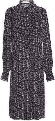 See by Chloe Lace-trimmed Pleated Floral-print Crepe De Chine Dress
