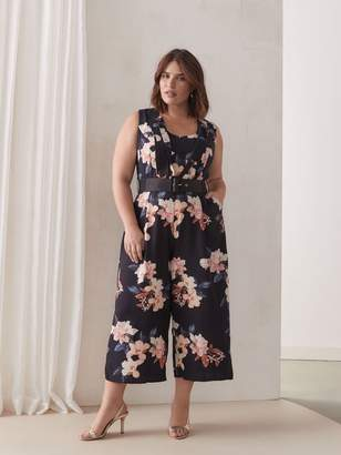 City Chic Belted Floral Jumpsuit