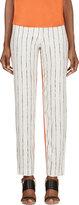 Cédric Charlier Orange & Ivory Printed Silk Twill Trousers