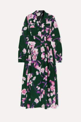 Dries Van Noten Pleated Floral-print Cotton-poplin Midi Dress - Green