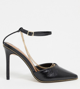 ASOS DESIGN Wide Fit Priscilla pointed high heels with chain in black