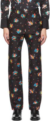 Paco Rabanne Black Floral Print Trousers