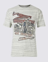 M&S Collection Cotton Rich Printed Crew Neck T-Shirt