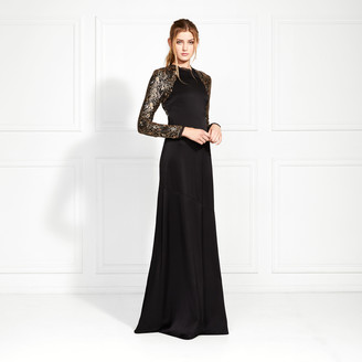 Rachel Zoe Miabella Embellished Satin-Backed Crepe Gown