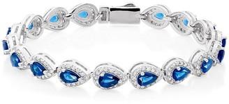 Beaverbrooks Silver Blue Cubic Zirconia Pear Halo Bracelet