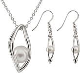 Splendid Pearls Silver 6-6.5Mm Pearl & Cz Earrings & Necklace Set