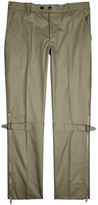 Alexander Mcqueen Olive Zipped Cotton Trousers