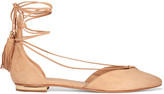 Schutz Nise lace-up suede point-toe flats