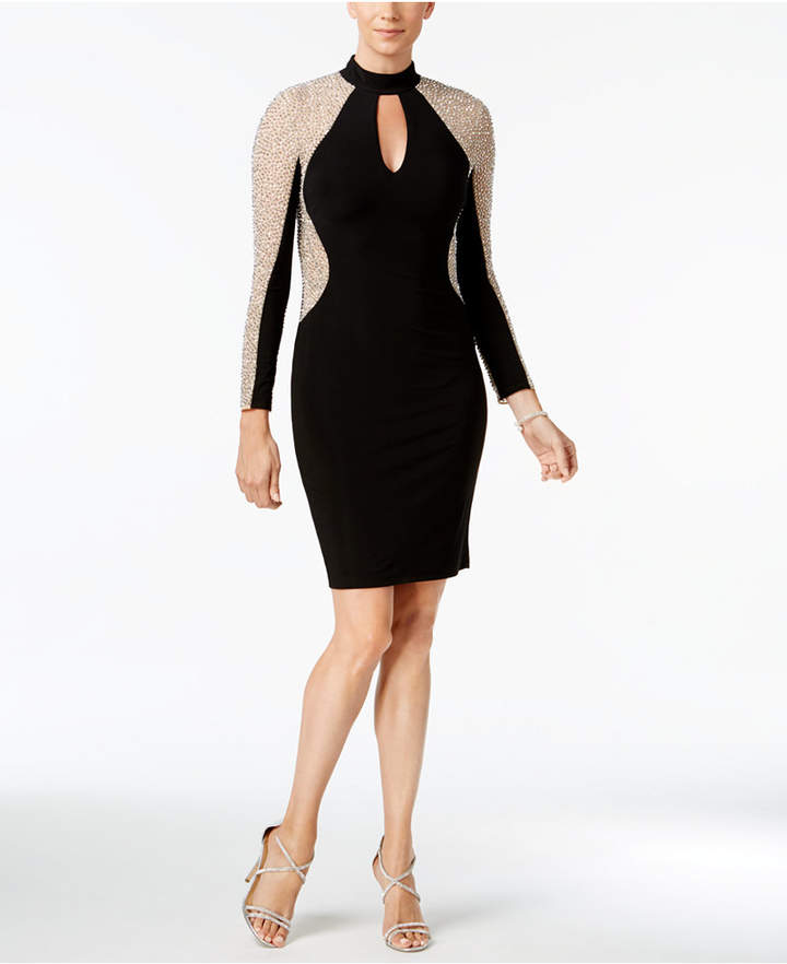 Xscape Evenings Studded Illusion Choker Sheath Dress