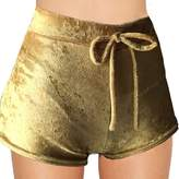 Fedi Apparel Velvet Soft Stretchy Shorts Clubwear High Waist Drawstring Hot Pant