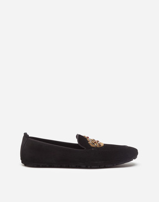 Dolce & Gabbana Calfskin Slippers With Crown Embroidery