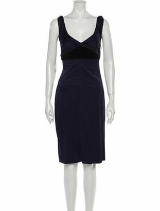 Gucci V-Neck Knee-Length Dress Blue