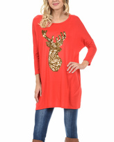 Red & Gold Sequin Stag Tunic - Plus