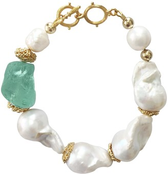 Farra Natural Baroque Pearls & Green Fluorite Bracelet