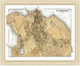 Sag Harbor Framed Sag Harbor, NY Map Wall Décor
