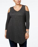 Belldini Plus Size Rhinestone Cold-Shoulder Knit Top