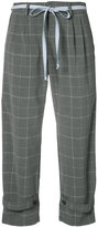L'Equip strapped checked cropped trousers