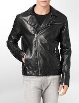 Calvin Klein Moto Asymmetrical Zip Faux Leather Jacket