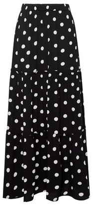 Dorothy Perkins Womens Black Spot Print Maxi Skirt, Black