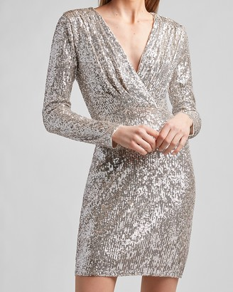 Express Sequin Wrap Front Sheath Dress