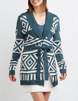 Charlotte Russe Geometric Shawl Collar Belted Cardigan