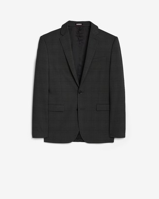 Express Extra Slim Charcoal Plaid Performance Blend Suit Jacket