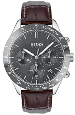 BOSS Hugo Men's Chronograph Oxygen Brown Leather Strap Watch 42mm